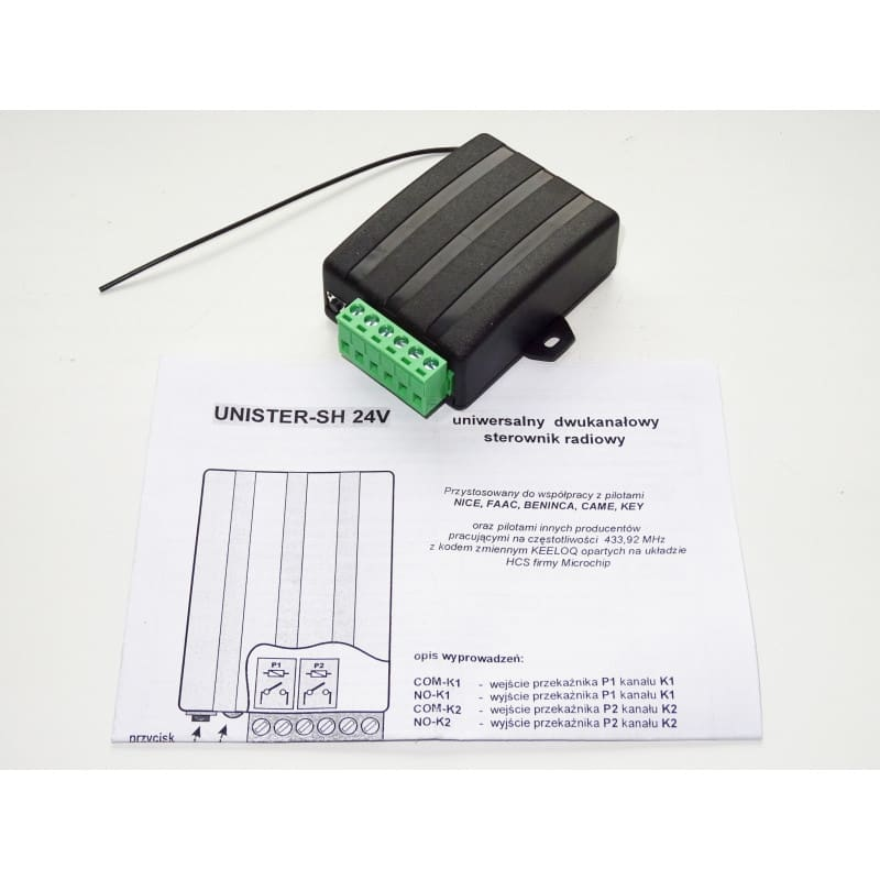 UNISTER radiolinia uniwersalna 14-28V AC/DC sterownik 2-kanalowy do automayki bramowej